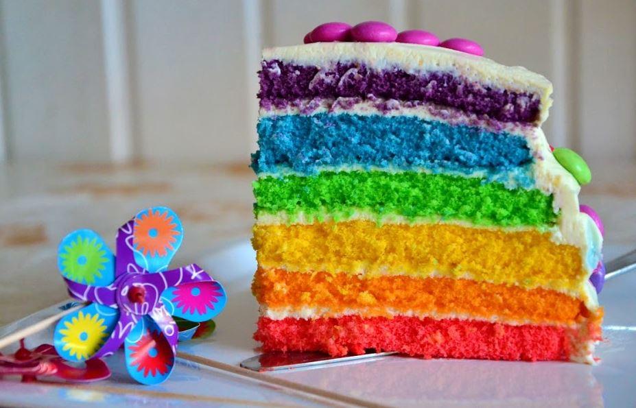Regenbogenkuchen für Kindergeburtstage