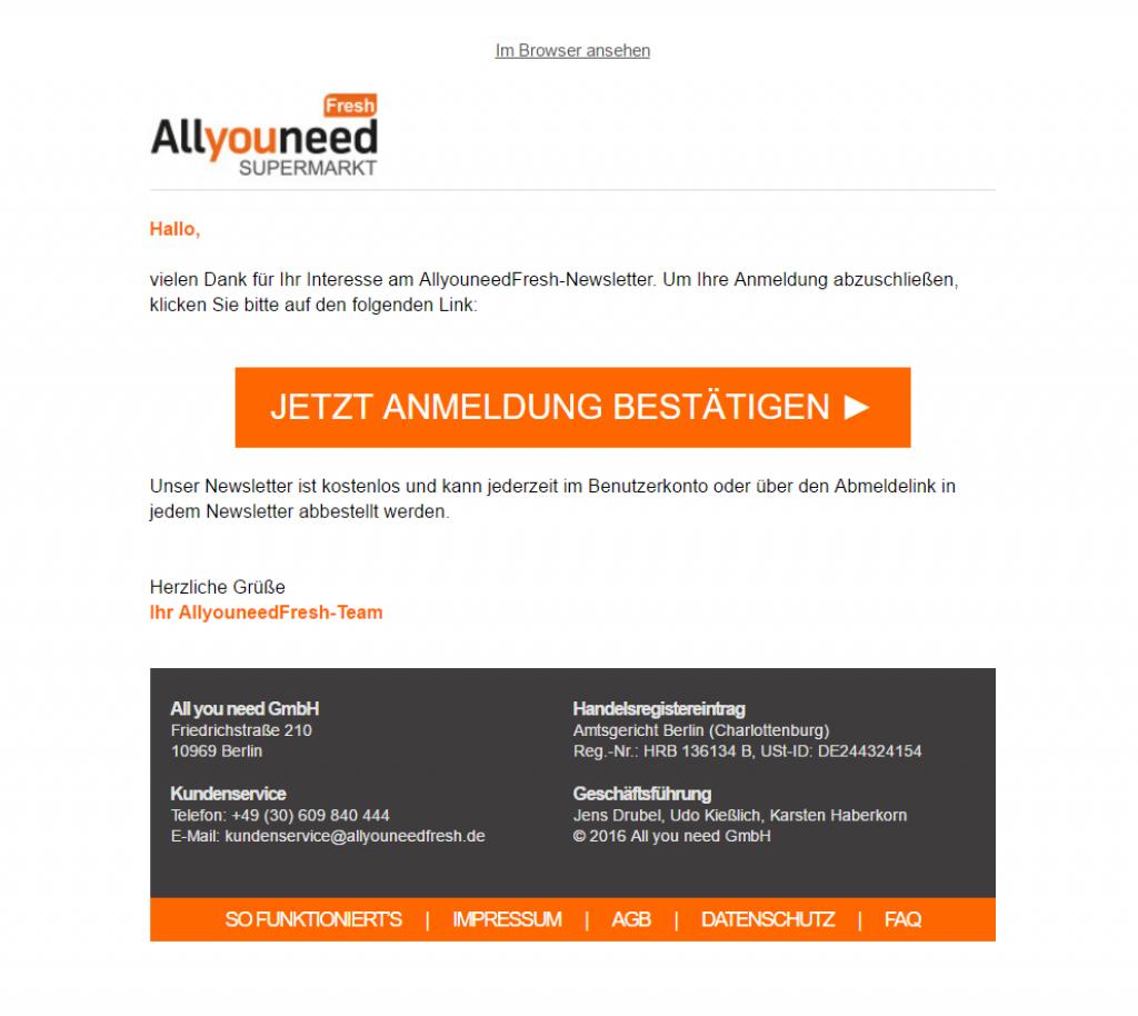 allyouneedfresh Newsletter Anmeldung bestätigen