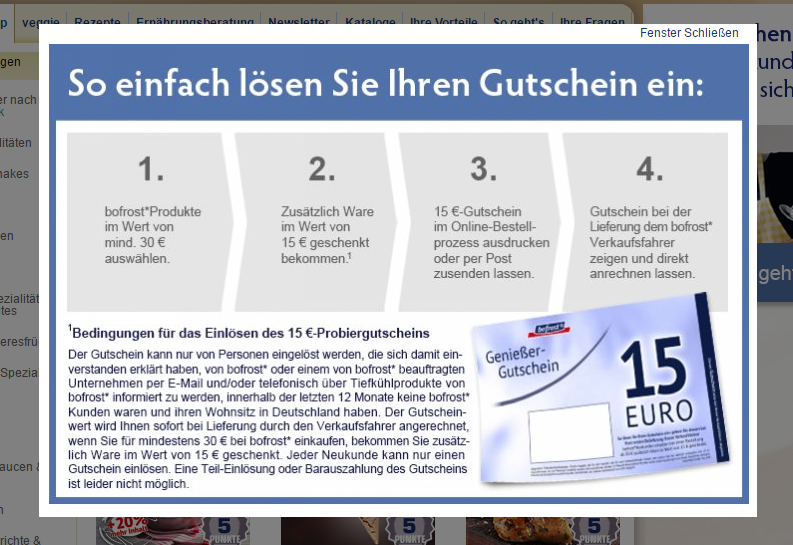 bofrost gutschein 15 euro