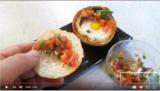 Gefülltes Frühstücksbrötchen mit Bruschetta